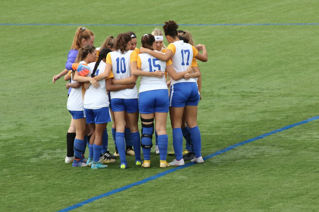 929aad5a7 Women s soccer team in a huddle before a game vs Herkimer last season